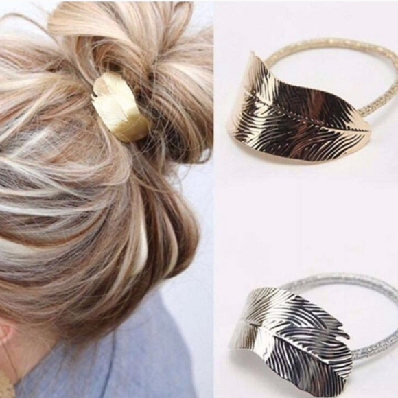 Gold Silver Feather Leaf Pony Tail Holder Hair Tie